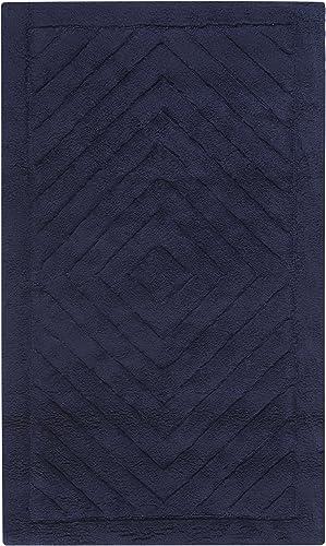 Safavieh Plush Master Bath Collection PMB635B Handmade Navy Cotton Bath Mat