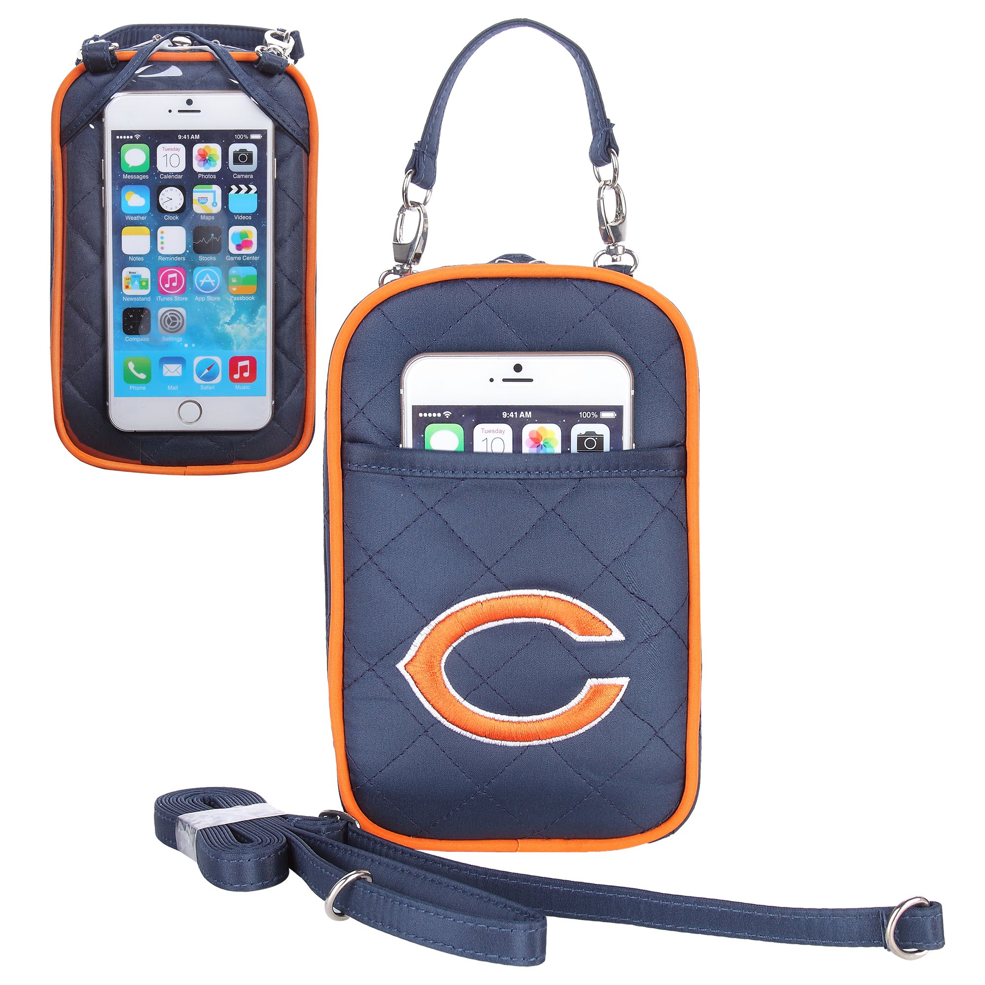 NFL Chicago Bears Women's Crossbody Bag Quilt-Embroidered Logo-Fits All Phones by Little Earth