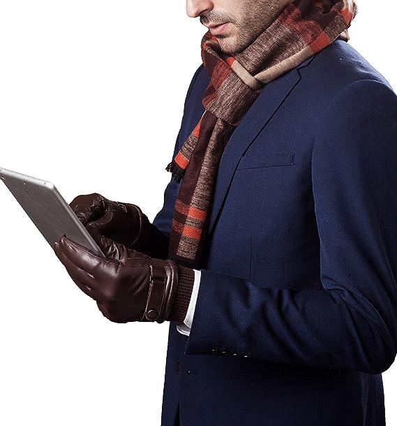 YISEVEN Herren Lederhandschuhe Kaschmir Gef/üttert Touchscreen
