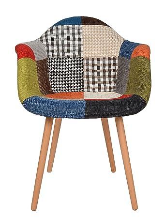 1 X Design Klassiker Patchwork Sessel Retro 50er Jahre Barstuhl Wohnzimmer  Küchen Stuhl Esszimmer Sitz Holz