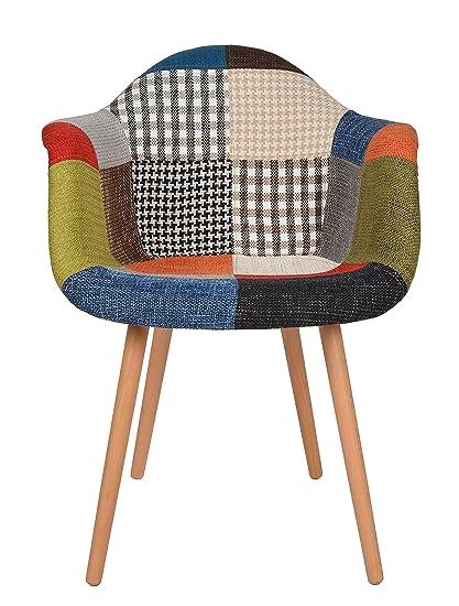 Sedie In Legno Anni 50.Ts Ideen Sedia Poltroncina Stile Patchwork Retro Anni 50 In Legno Di Faggio Rivestito In Lino 100