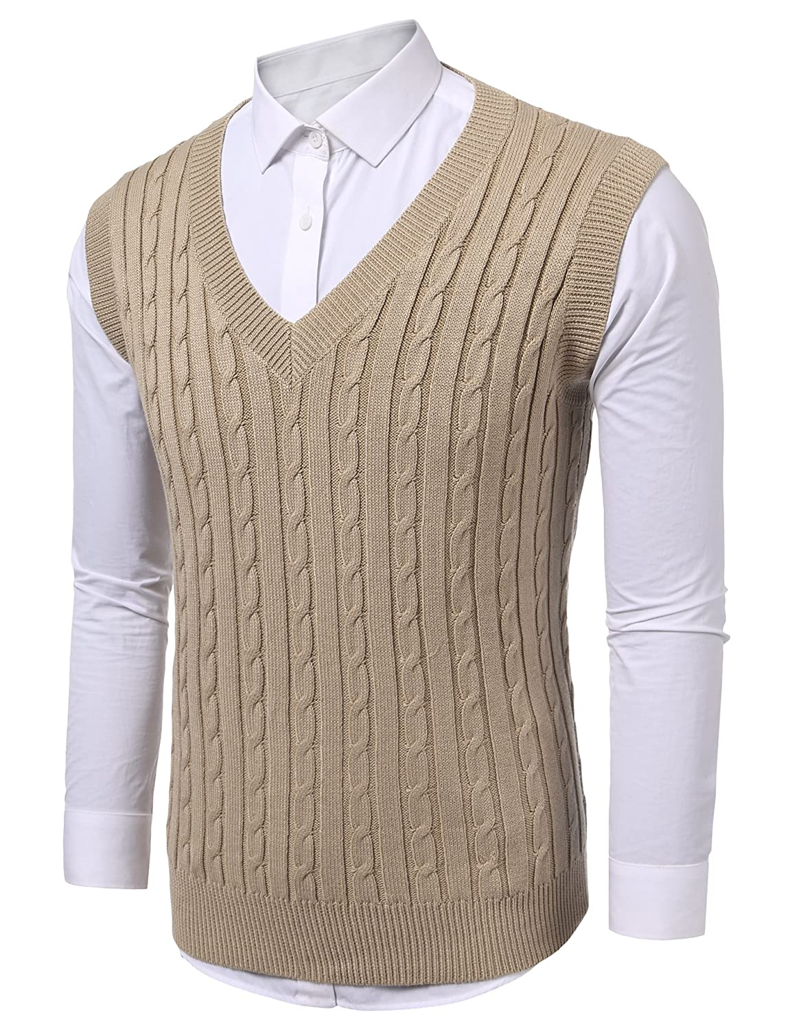 COOFANDY Mens Casual Knitted Sweater Slim Fit Pullover Cable Sweater Links-Vest AS12240808