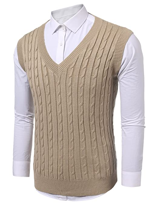 1930s Mens Fashion Guide- What Did Men Wear? Coofandy Mens Casual Knitted Sweater Slim Fit Pullover Cable Sweater Links-Vest $27.99 AT vintagedancer.com