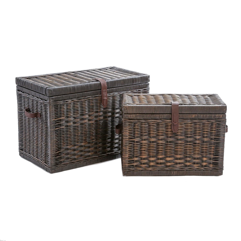 The Basket Lady Wicker Storage Trunk, Large, 30 in L x 16 in W x 20.5 in H, Antique Walnut Brown