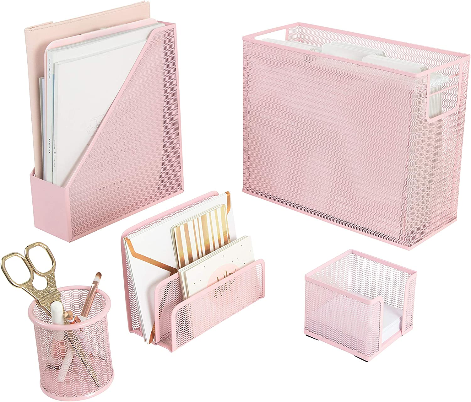 Blu Monaco 5 Piece Pink Office Supplies Desk Organizer Set - with Desktop Hanging File Organizer, Magazine Holder, Pen Cup, Sticky Note Holder, Letter sorter - Pink Desk Accessories for Women Office