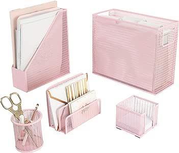 Blu Monaco 5 Piece Pink Office Supplies Desk Organizer Set - with Desktop Hanging File Organizer, Magazine Holder, Pen Cup, Sticky Note Holder, Letter sorter - Pink Desk Accessories for Women Office