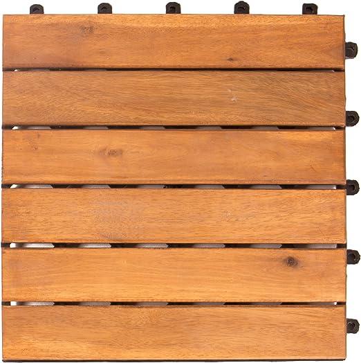 Vanage VG-4635 baldosas de Madera para Suelos Juego de 9, Marrón, 9-er Set: Amazon.es: Jardín