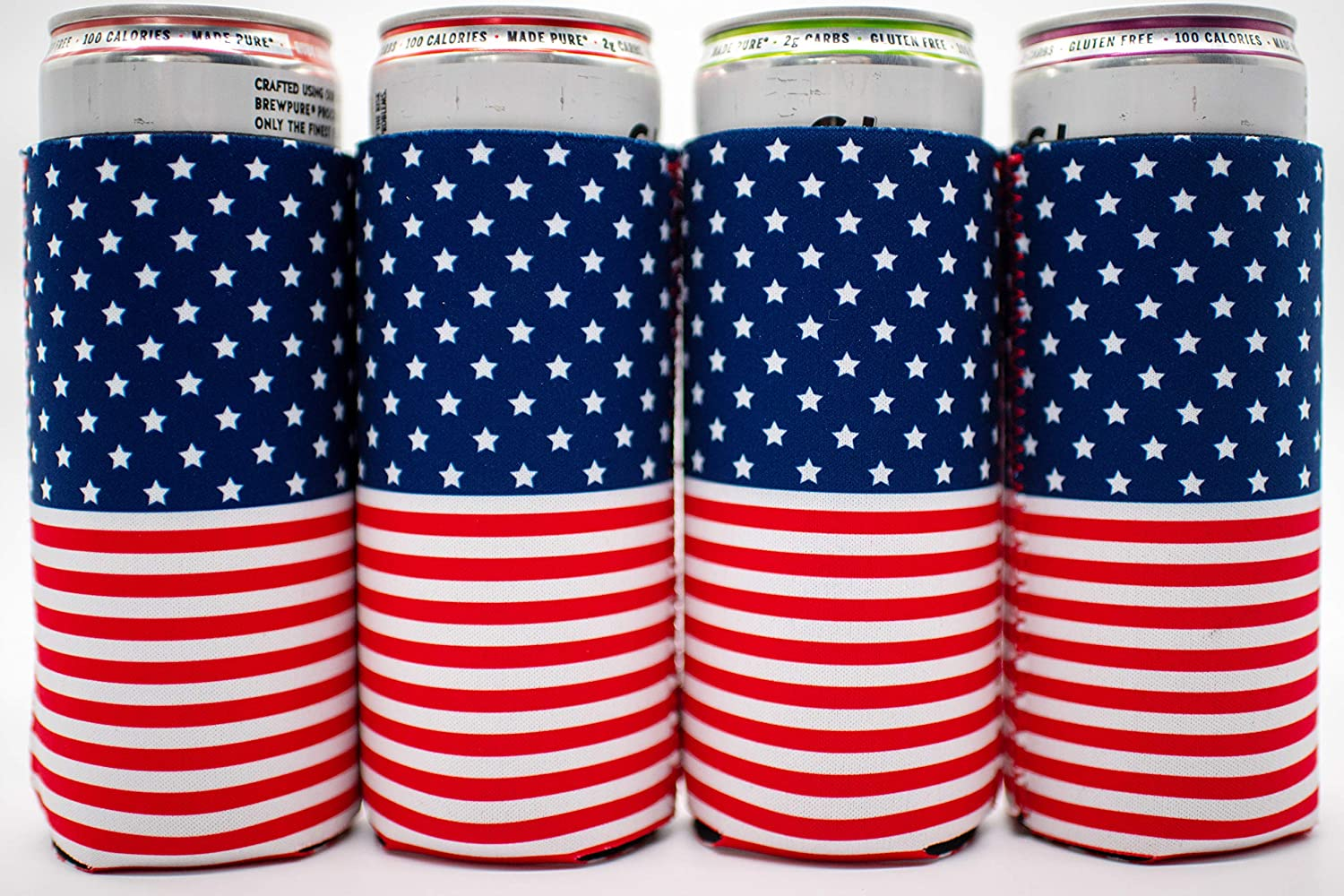 White /& Boozed  Slim Red Thin Can Cooler  4th of July of Patriotic Party  12oz cozies for spiked seltzer cans Skinny
