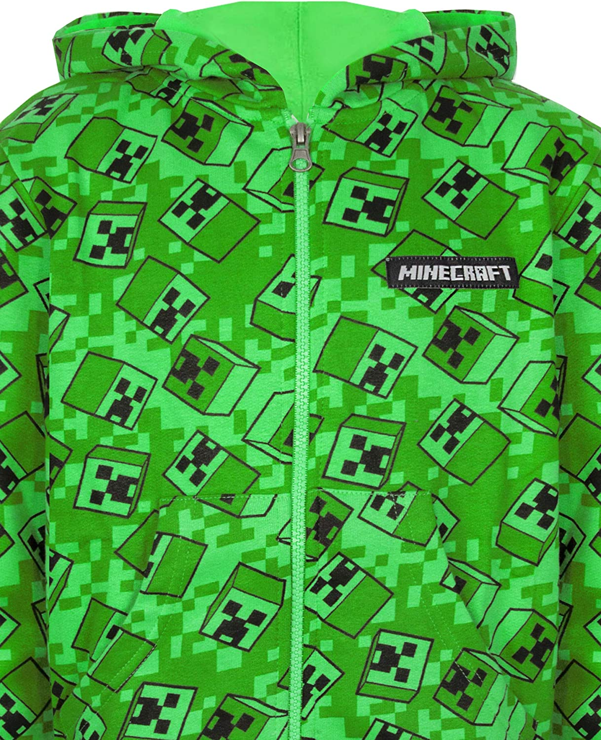 Minecraft Creeper All Over Print Boys Green Zip Up Hoodie Kids Hooded Sweater