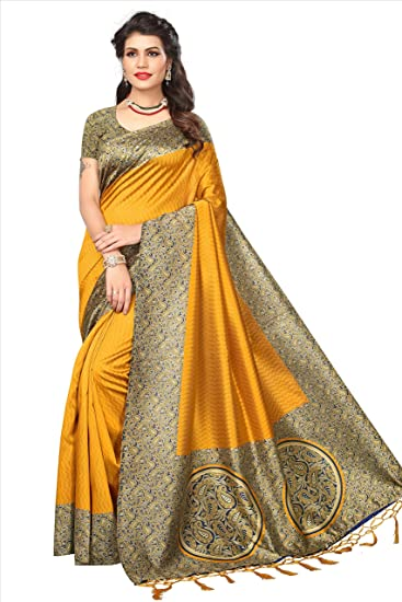 ddbb7ffc702cc e-VASTRAM Womens Artificial Printed Silk Saree With Blouse And Tassels  (RIMZIM2CIRCLEY Yellow)  Amazon.in  Clothing   Accessories