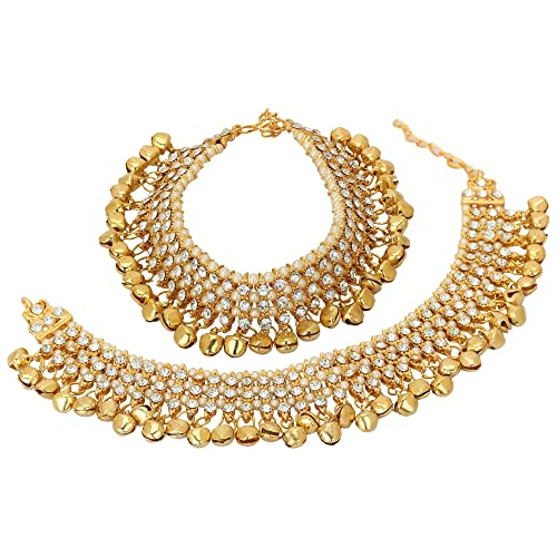 Indian Wedding Bridal Gold Plated Ethnic Rhinestone Pearl Payal Anklets Jewelry Anklets