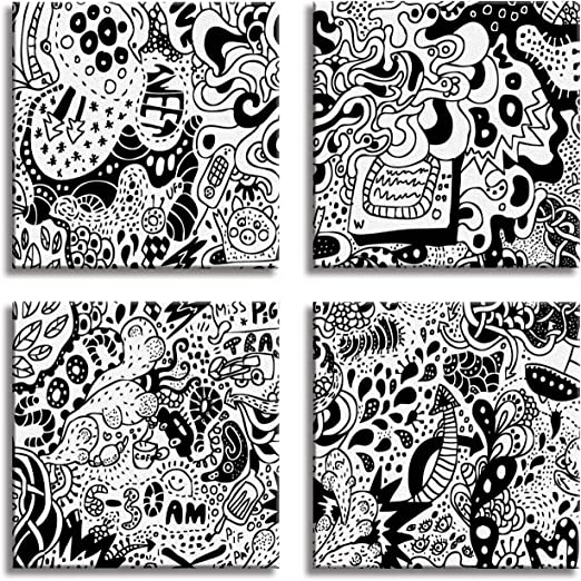 JP London 4 Panels 14in 4 Huge Gallery Wrap Canvas Wall Art New Orleans Voodoo Animal Mash up At Overall 28in QDCNV2445 DMCNV2060