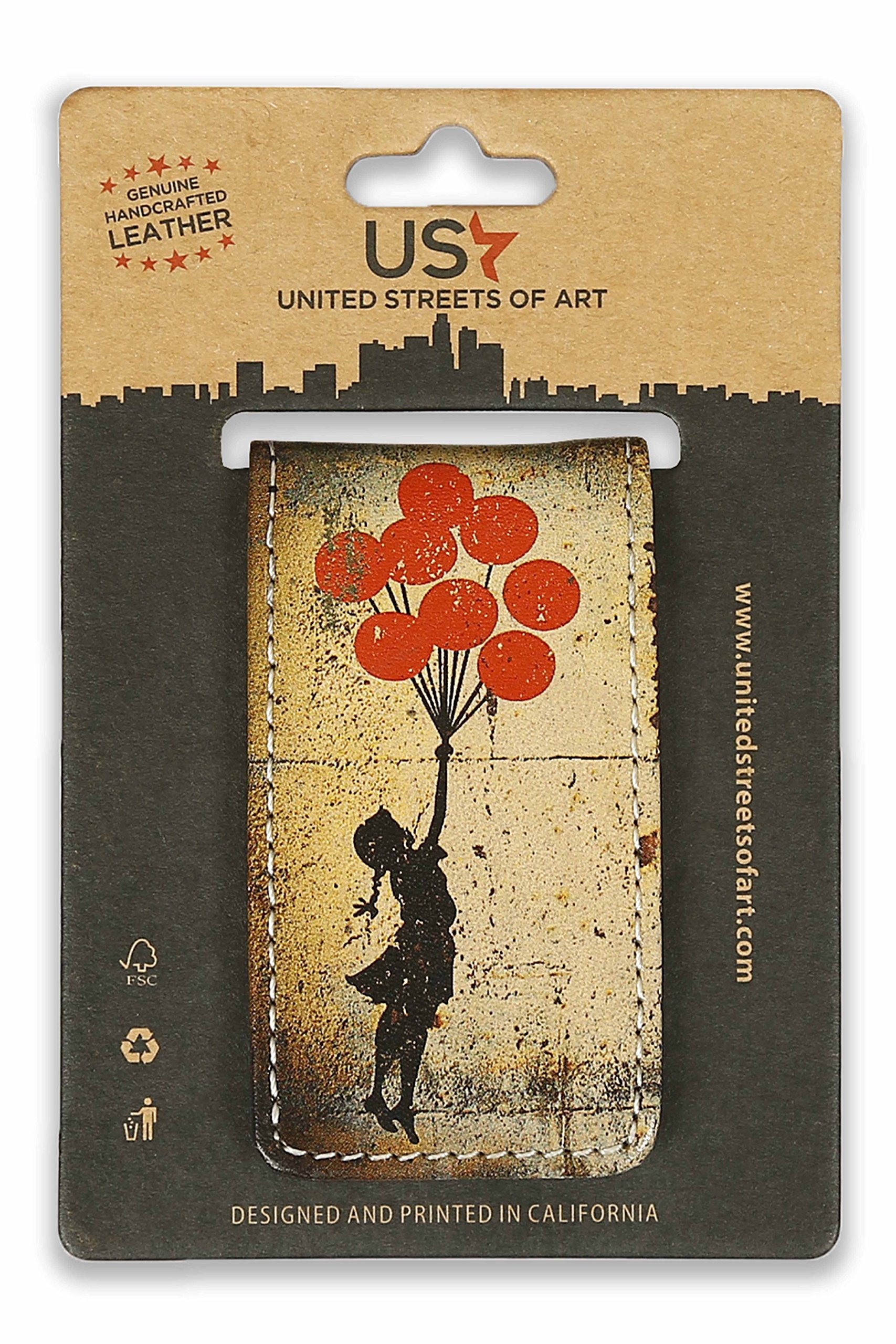 Leather Magnetic Money Clip for Men & Women with Unique Designs Banksy Flying Balloons & Lovesick Money Clip