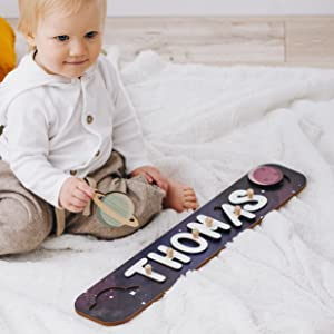 Space Theme Planets Personalized Wood Name Puzzle With Pegs & Custom Design - Toddler Name Puzzle For Girls & Boys - Montessori Toys Nursery Décor - Name Sign 1st Birthday Gift for Baby