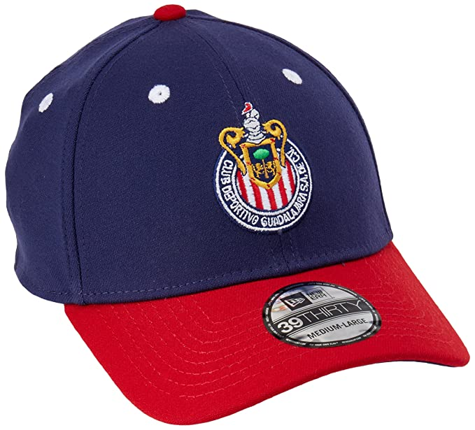 New Era 39Thirty Hat Chivas De Guadalajara Liga MX Soccer Official Logo Blue/Red Cap
