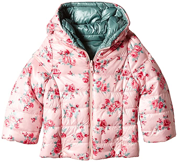 United Colors of Benetton 2PN6535P0 Floral Rev Puffa Hooded, Abrigo para Niños, Pale Pink