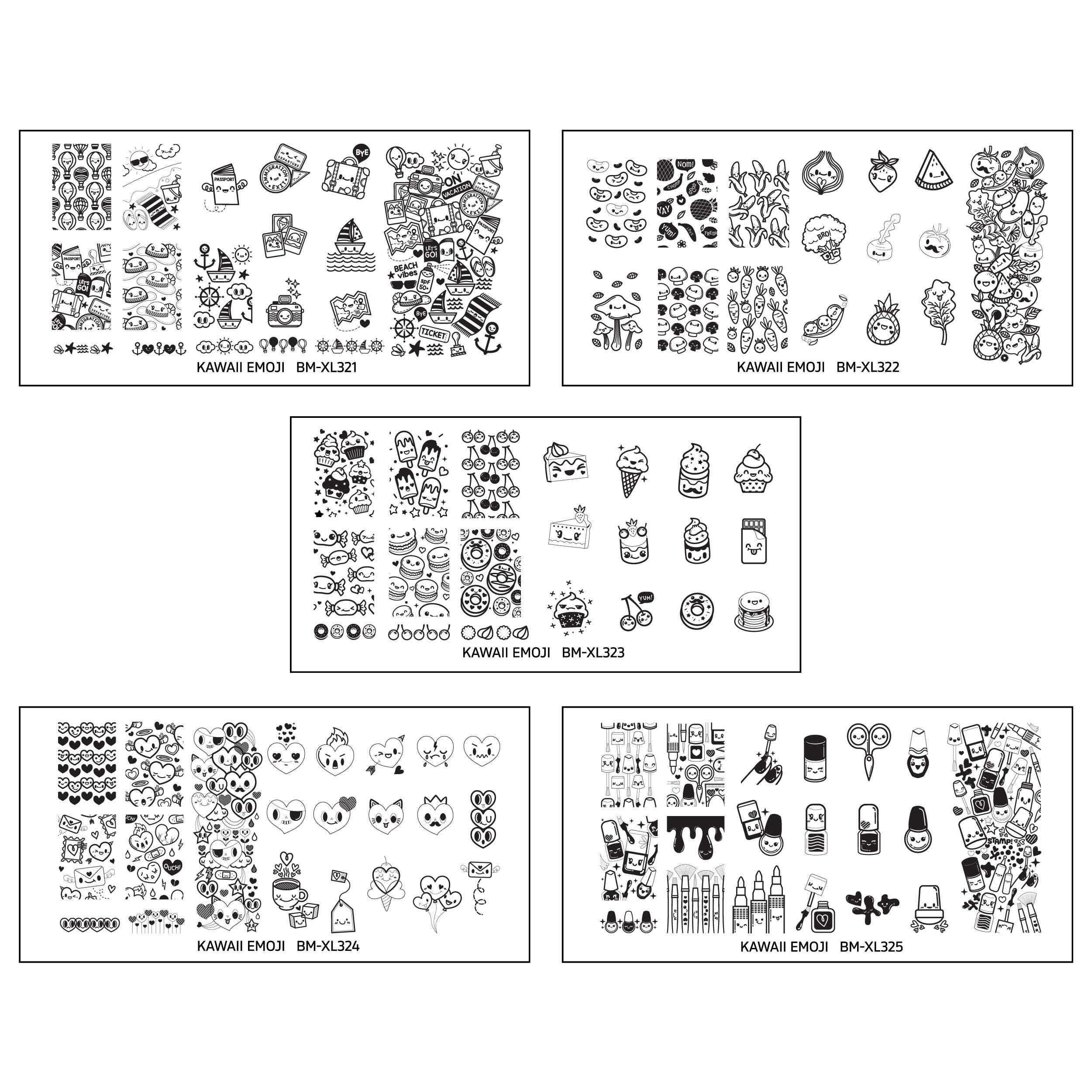 Bundle Monster 5pc XL Nail Art Stamping Plate Set - Kawaii Emoji
