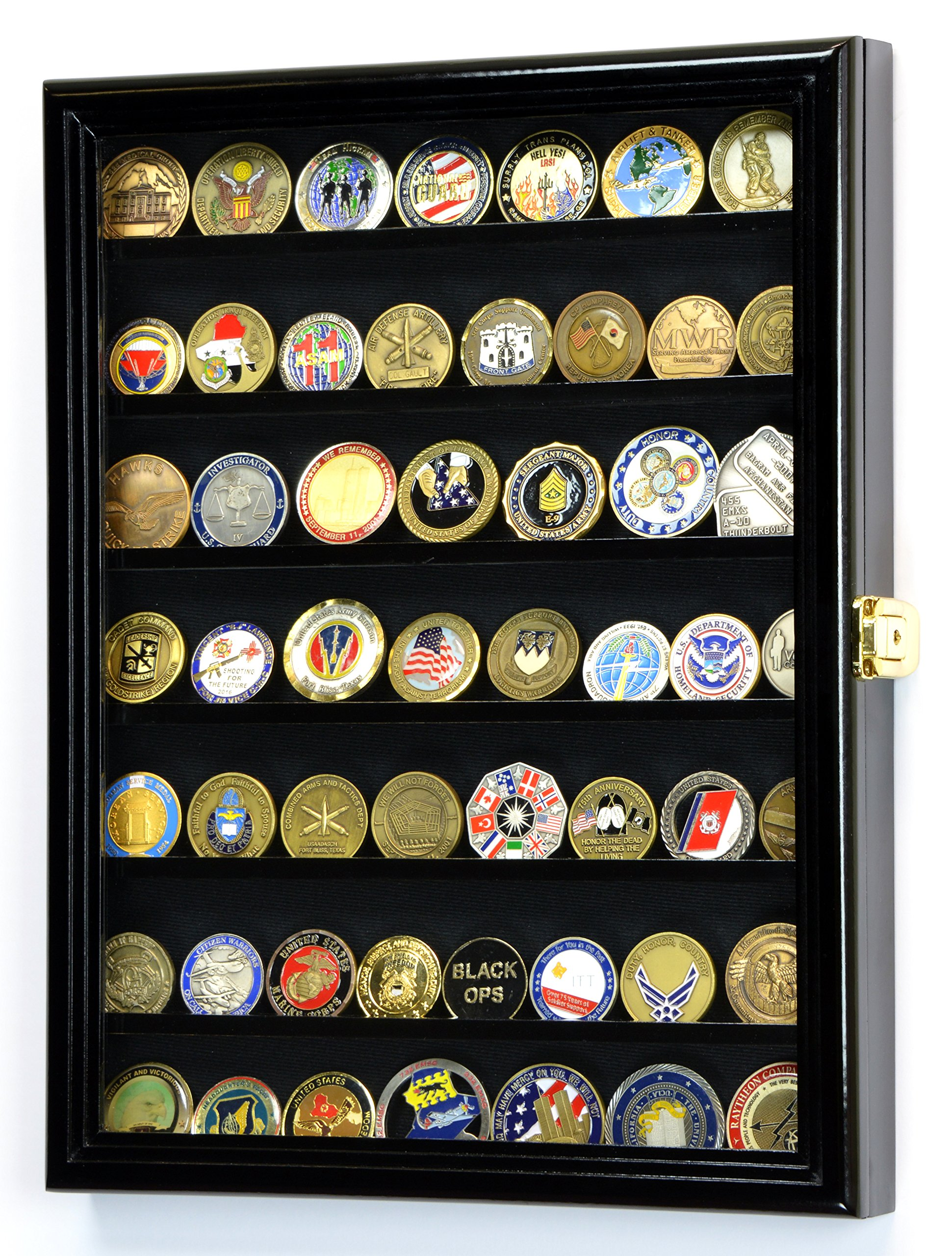 Military Challenge Coin Display Case Cabinet Holder Wall Rack 98% UV Lockable -Black