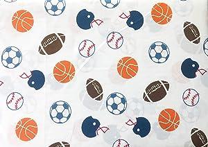 Max Studio Kids Sports Baseballs Footballs Soccer Balls on White, 3 Piece Twin Size Sheet Set