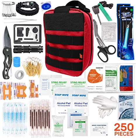 250pcs Tactical First Aid Kit Includes Molle Compatible Bag - Perfect for Hiking Hunting Camping Car Boat Adventures Emergency or Earthquake Safety… (Red)