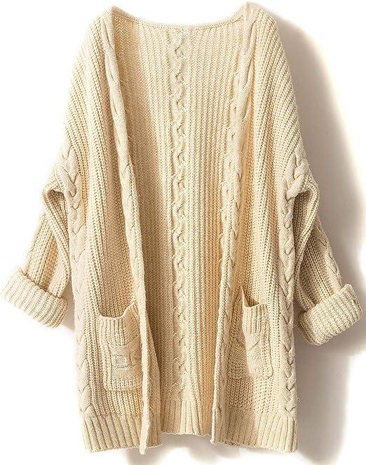 LinyXin Cashmere Damen Strickjacke Kaschmir Rundhals Langarm Lose Winterjacke Wolle Pulli Sweater Warm Pullover