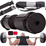 Titanium Peak Barbell Squat Pad for Lunges, Hip Thruster Pad, Squats + 2 Safe Straps – Barbell Pad Weight Lifting Cushion Neck & Shoulder Support for Standard and Olympic Squat Bar