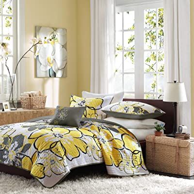MIZONE Allison Set Teen Girl, Ultra Soft Microfiber Bed Quilted Coverlet, Twin/Twin XL, Yellow/Grey: Home & Kitchen