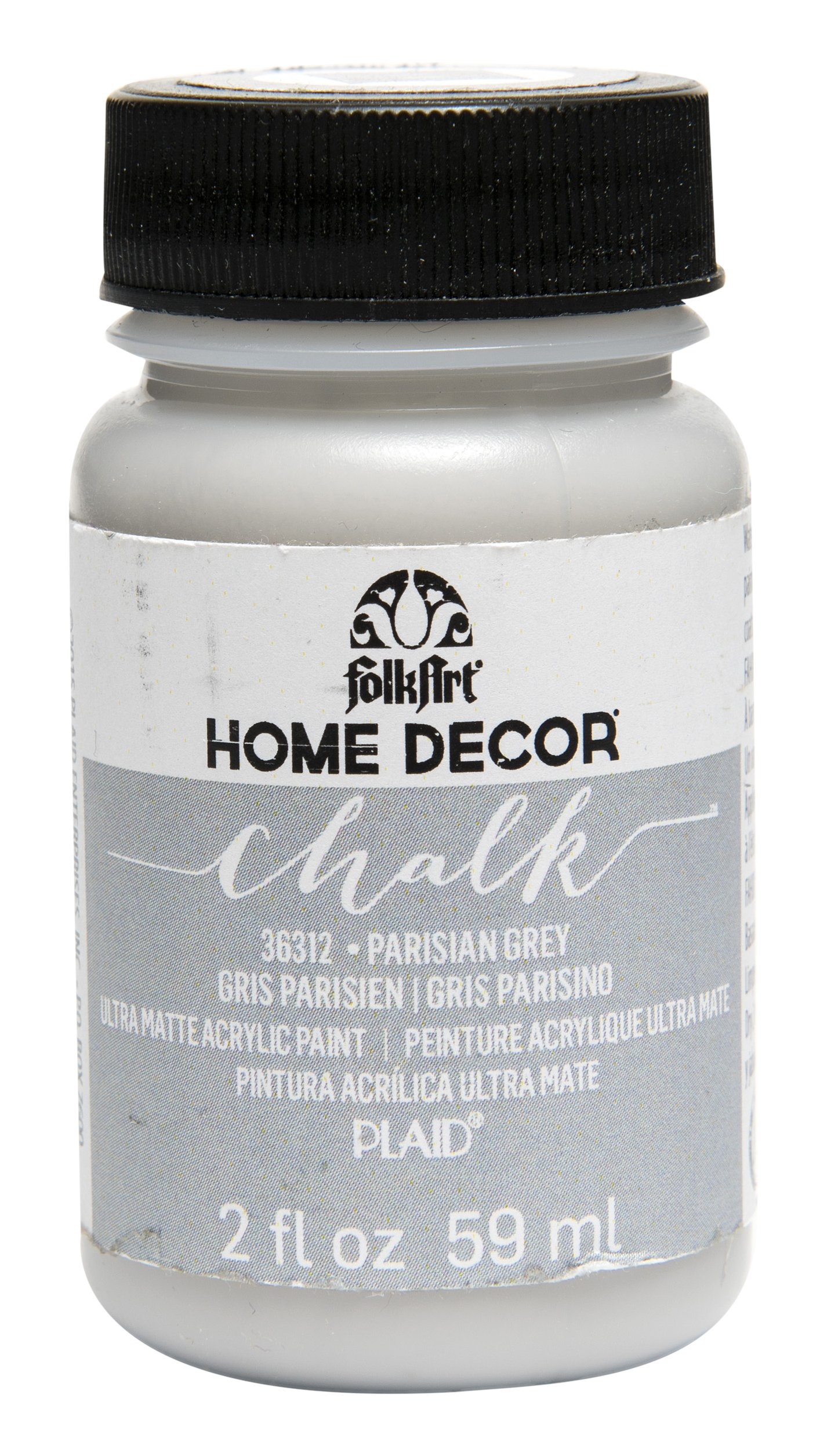 FolkArt Home Decor Chalk Furniture & Craft Paint in Assorted Colors (2 Ounce), 36312 Parisian Grey