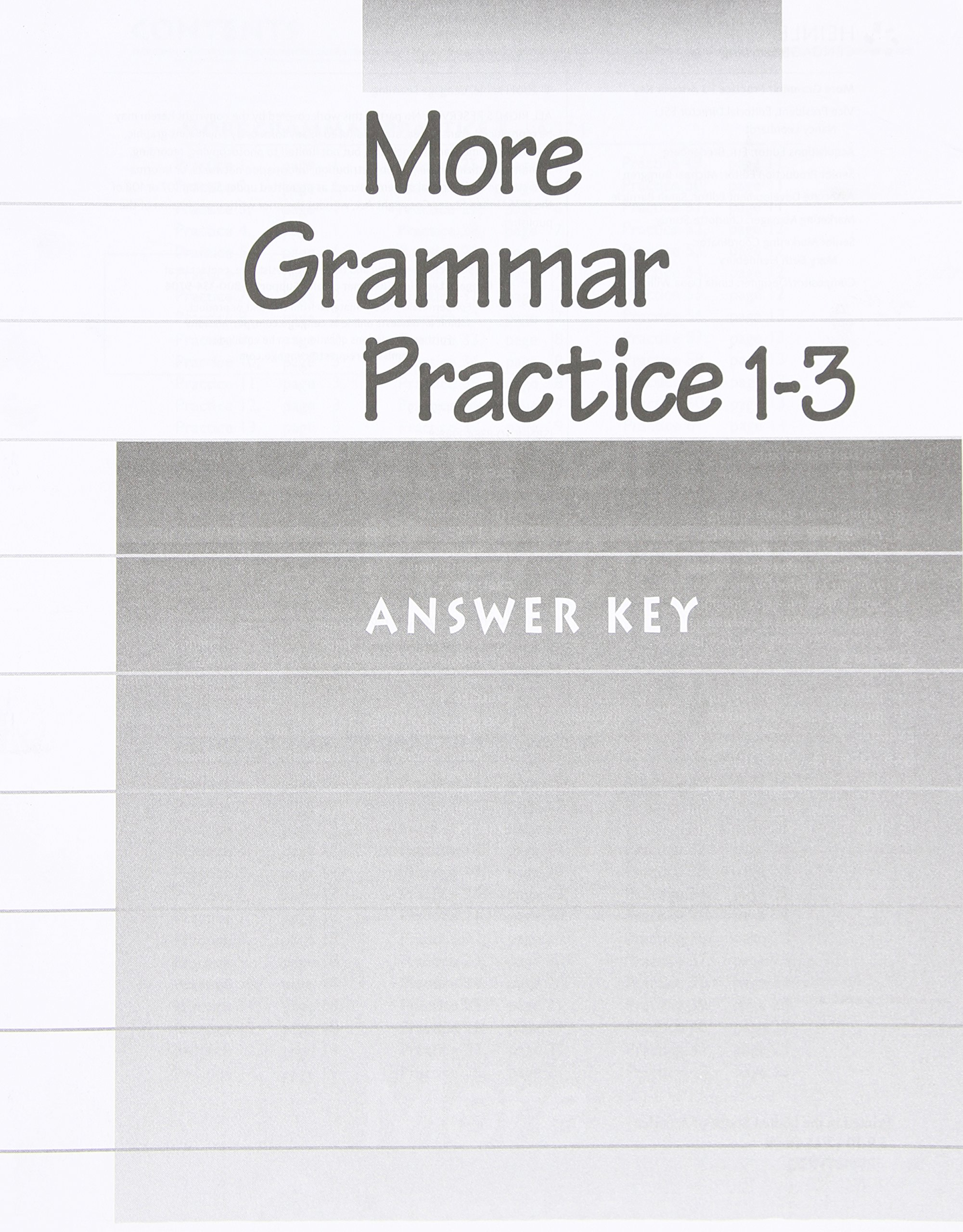 Read Online Answer Key for More Grammar Practice: Books 1-3 pdf