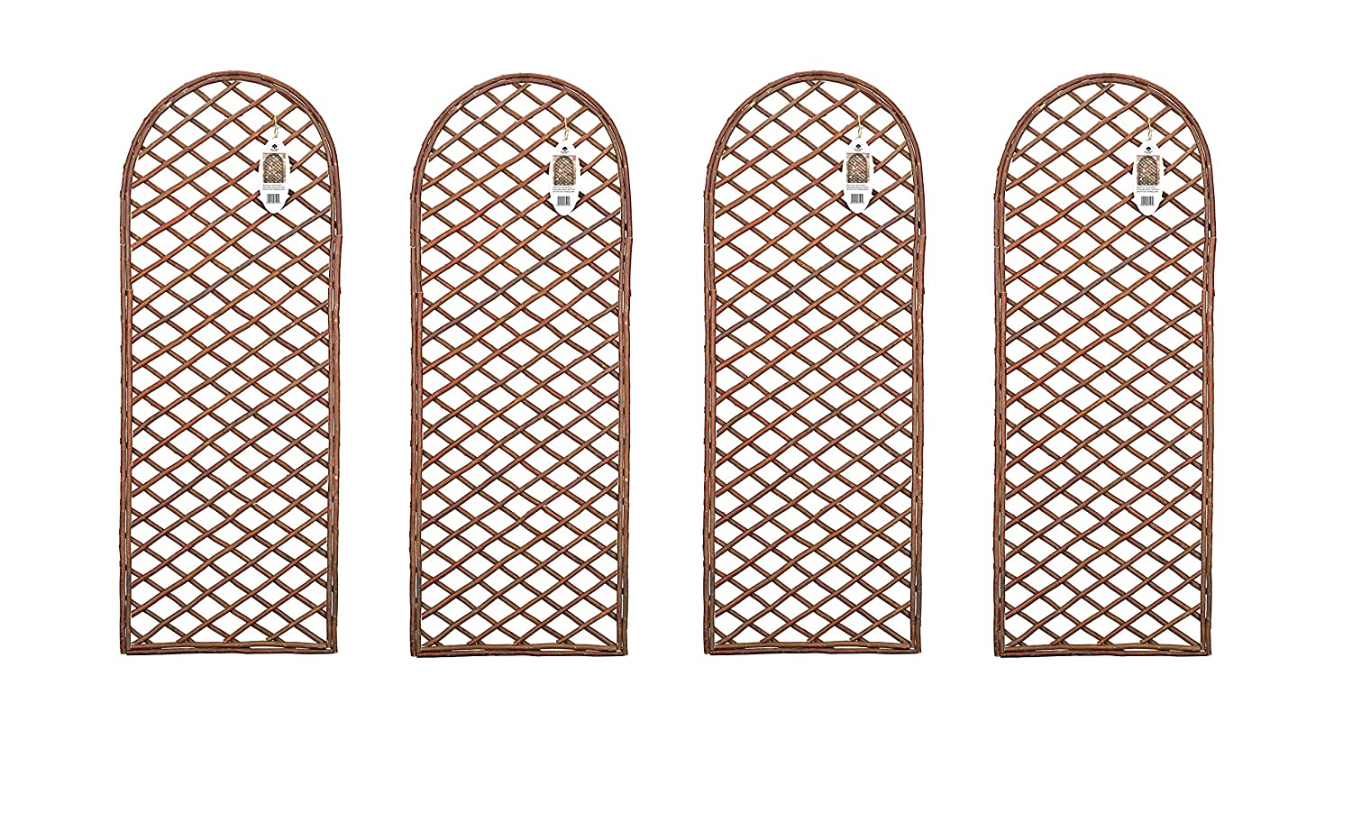 Ruddings Wood Pack of 4 x Willow Trellis Panel Round Top - Curved Garden Wall Framed Trellis Supports