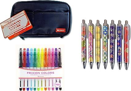LIHIT LAB Estuche para bolígrafo, negro y piloto, colores Frixion 12C y 1 bolígrafo de punta redonda, tinta negra, cuerpo de impresión kimono (un color al azar) juego de papelería japonesa: Amazon.es: