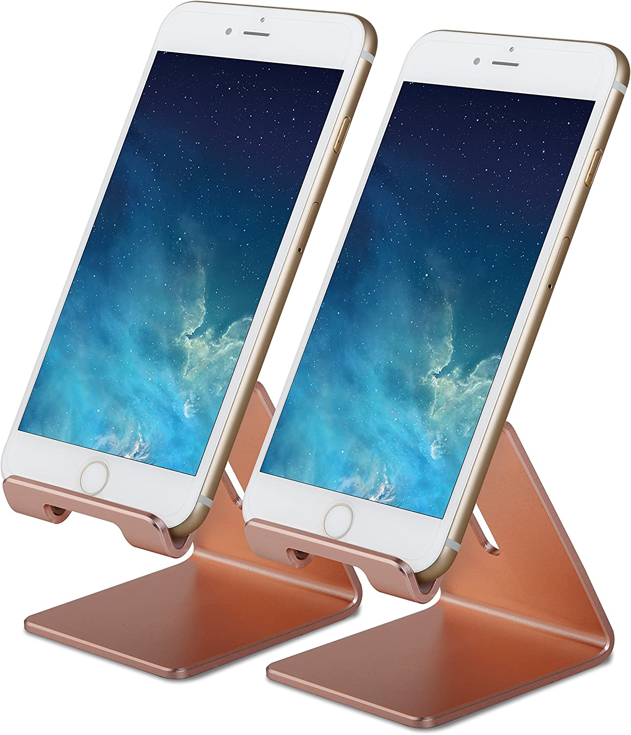 Honsky GEN-2 Universal Aluminum Cell Phone Tablet Desk Charging Stand Portable Hands Free Desktop Display Holder, Compatible with iPhone iPad Mini LG Samsung Android Cellphone, 2 Sets, Rose Gold