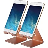 Honsky GEN-2 Universal Aluminum Cell Phone Tablet Desk Charging Stand Portable Hands Free Desktop Display Holder for iPhone iPad Mini LG Samsung Switch Other Android Cellphone, 2 Sets, Rose Gold