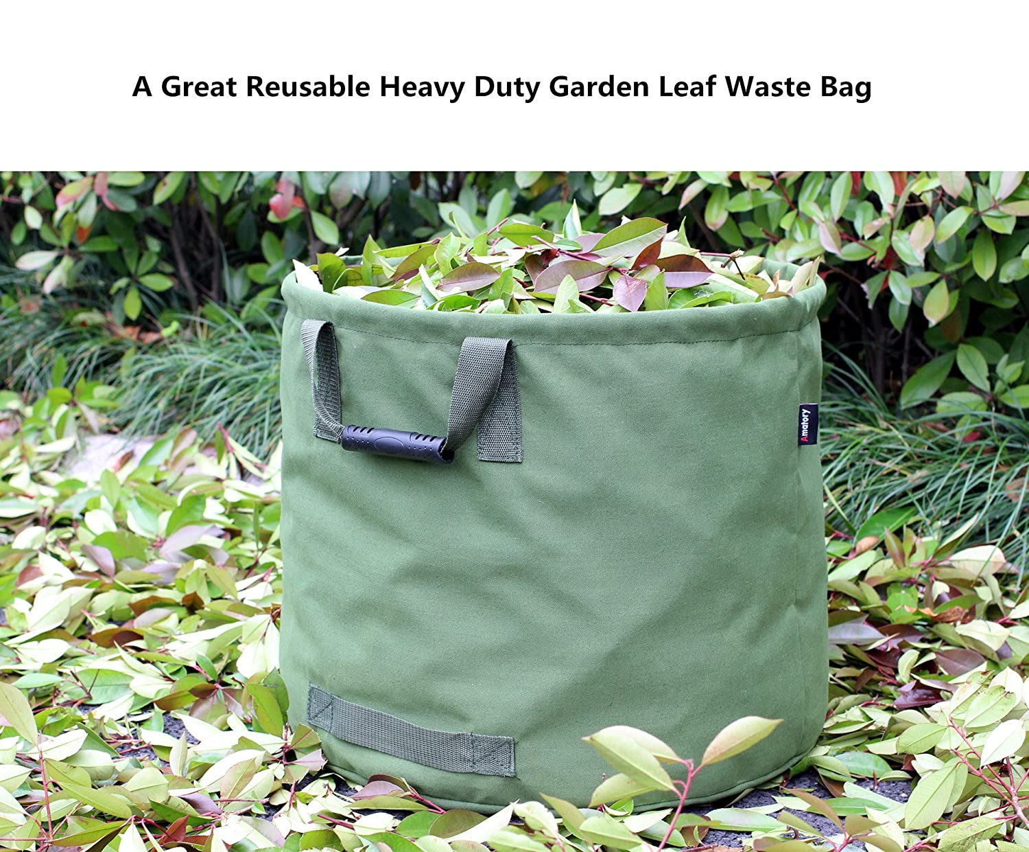 6c03cc45 Amazon.com : Amatory Garden Lawn Leaf Yard Waste Bag Container Tote  Gardening Trash Reusable Heavy Duty Military Canvas Fabric 33 Gallon  (Green) : Garden & ...