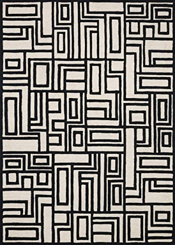 Now House by Jonathan Adler Blocks Collection Area Rug, 9 x 12 , Ivory and Black