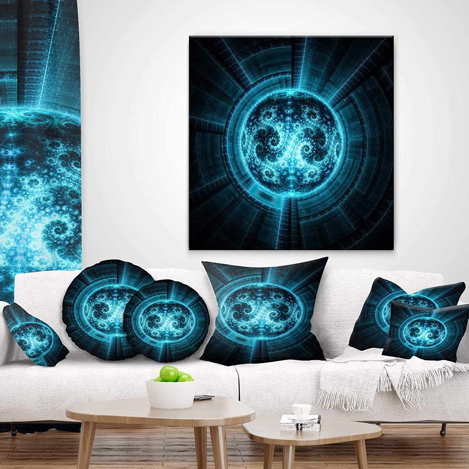 Sofa Throw Pillow 12 in Designart CU12082-12-20 Glowing Bright Blue White Fractal Flower Abstract Lumbar Cushion Cover for Living Room Insert Printed On Both Side x 20 in in