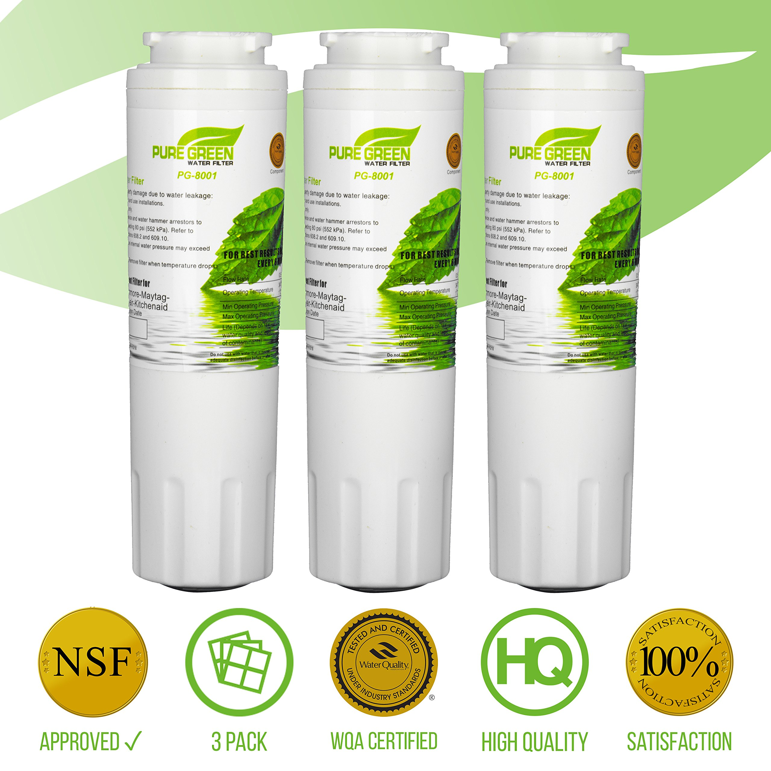 Pure Green Water Filter PG-8001 Maytag UKF8001 Refrigerator Water Filters | Nsf Certified |, Lead Free | 3 Pack, 3 Count