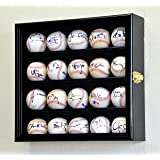 20 Baseball Display Case Cabinet Holder Wall Rack w/ UV Protection, Black
