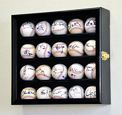 Amazoncom 20 Baseball Display Case Cabinet Holder Wall Rack W Uv