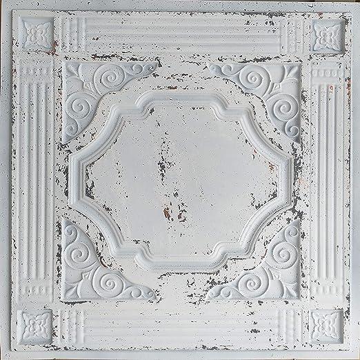 Amazon Com Paintsdecor Plastic Ceiling Tiles Distress White Faux Painted Decor Wall Panels Pl65 10pc Lots Home Kitchen