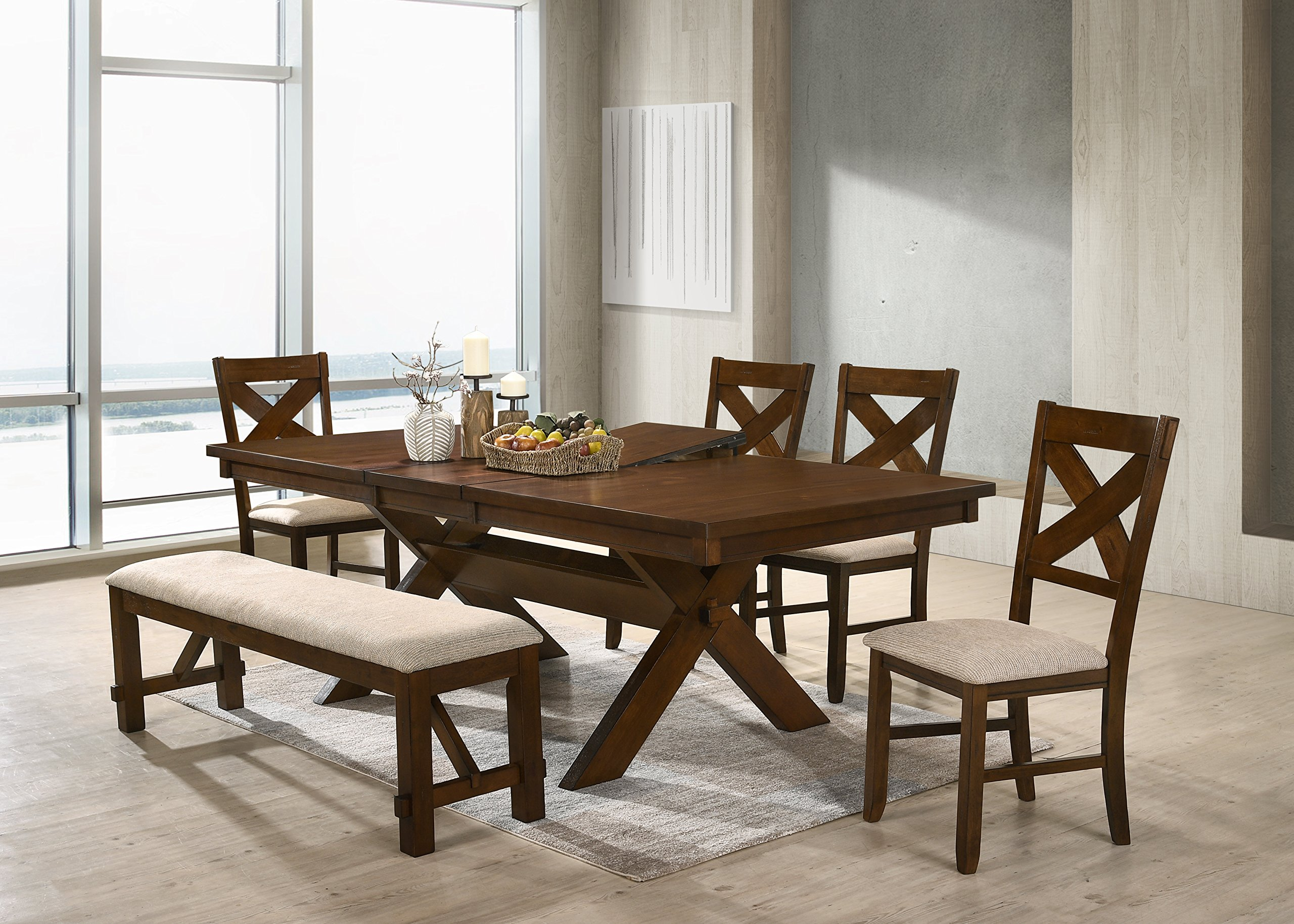 Roundhill Furniture Karven Solid Wood Dining Bench