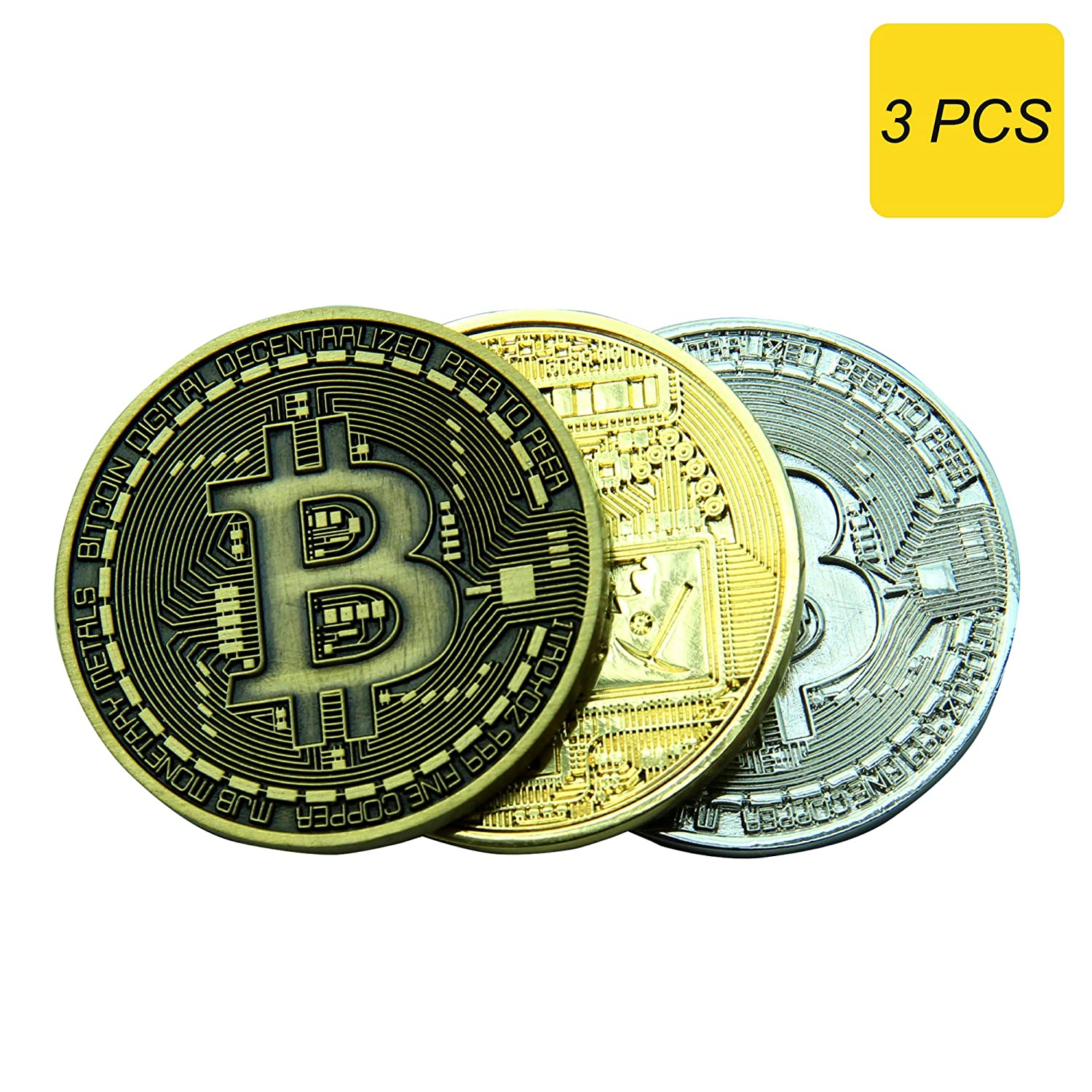 Bitcoin記念メタルCollectors Coin In ProtectiveアクリルDisplayケース 3 coins G-BCGBS B079CDFHQ7  Gold, Silver, Bronze 3 coins