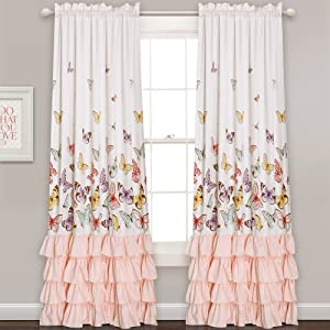 "Lush Decor Lush Décor Flutter Butterfly Window Curtain Panel Pair Set, 84"" x 52"", Pink"