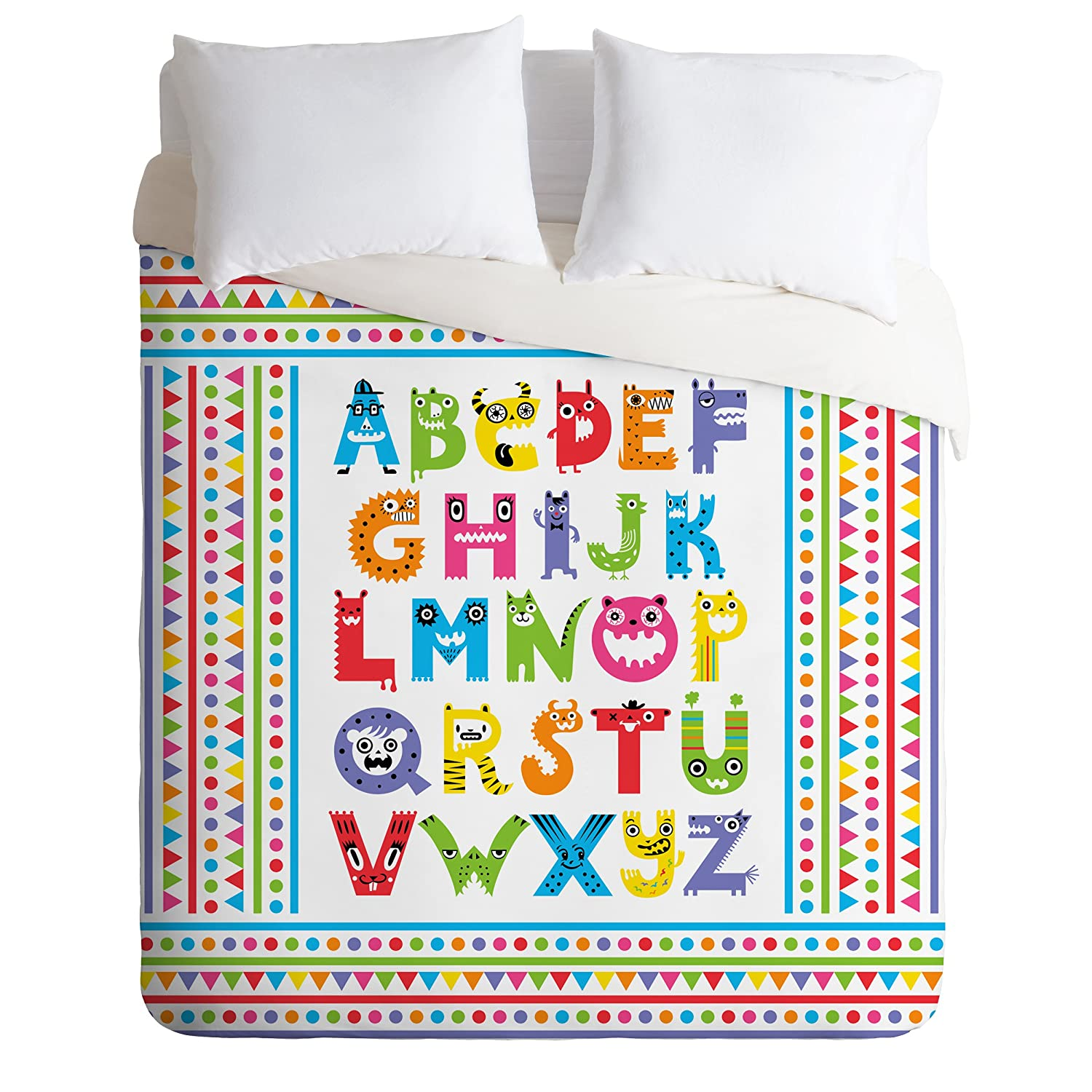 Deny Designs Andi Bird Alphabet Monsters Duvet Cover, Queen