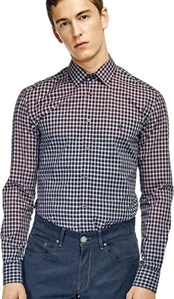 Caramelo, Camisa Slim Cuello Ingles, Hombre · Granate Medio ...