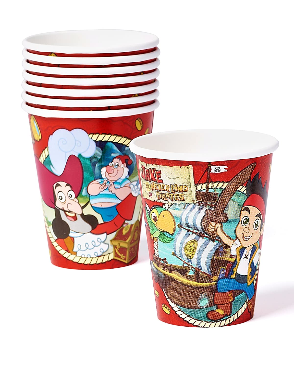 (8-Count, Paper Cups) - American Greetings Jake the Never Land Pirates 270ml Paper Party Cups, 8 Count, Party Supplies Novelty   B00KO1E46G