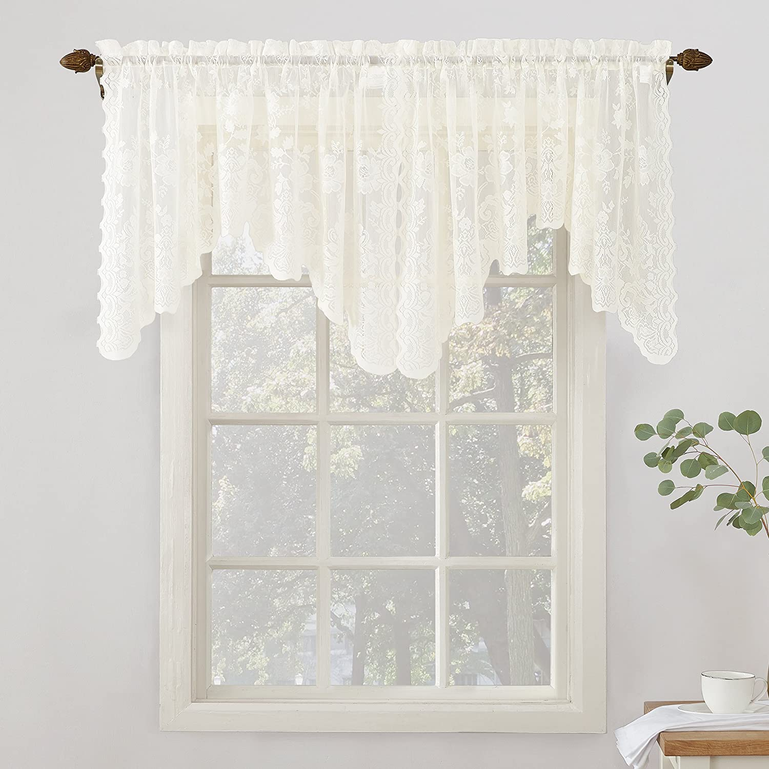 """No. 918 Alison Floral Lace Sheer Rod Pocket Curtain Valance, 58"""" x 32"""", Ivory"""