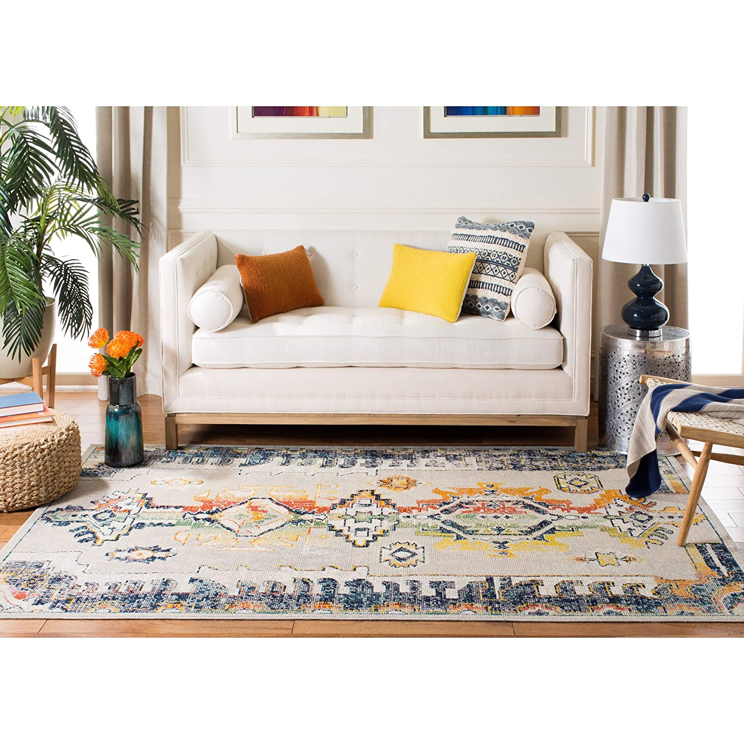 Safavieh CRS517F-7SQ Crystal Collection CRS517F Light Grey and Orange Area (7 Square) Rug,