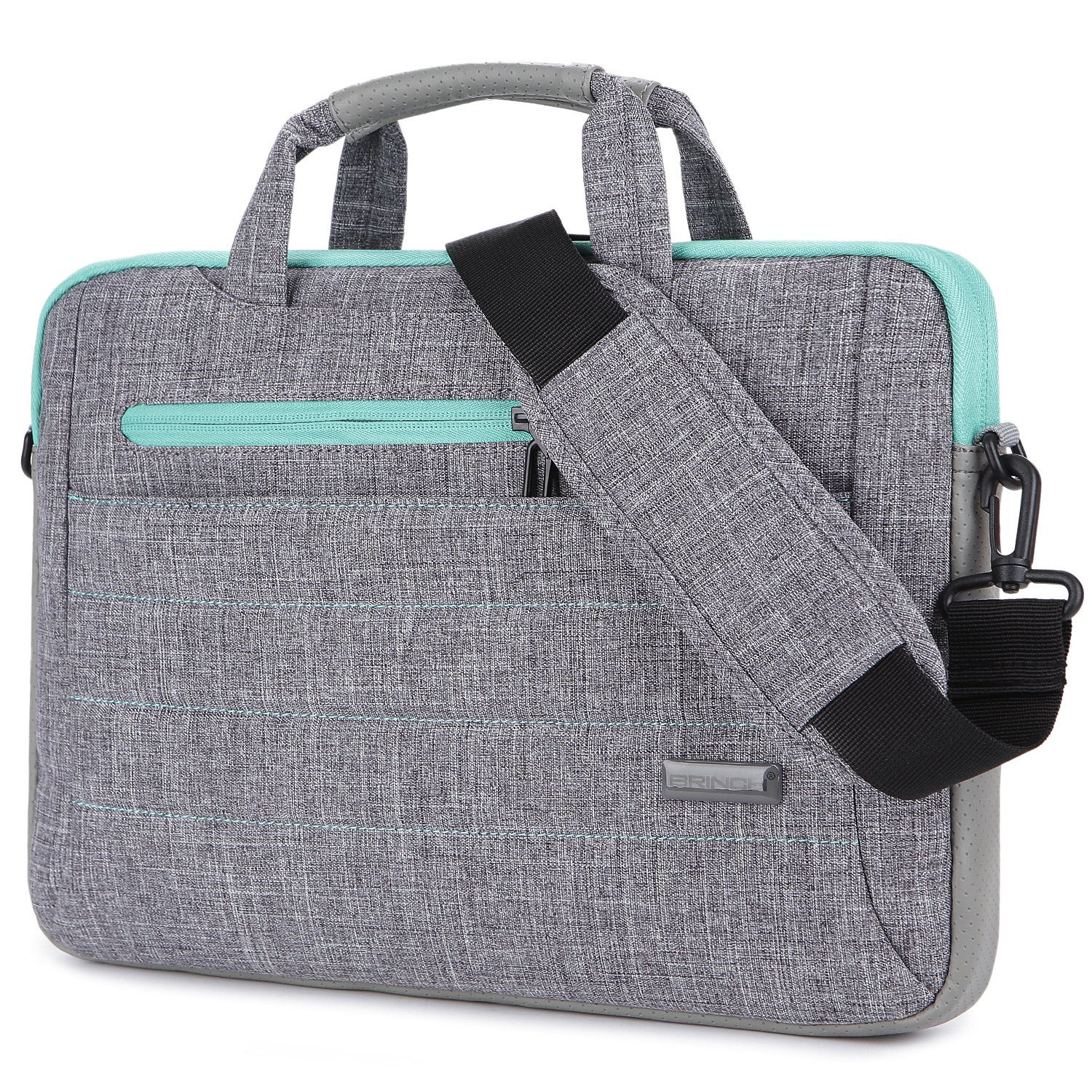 BRINCH 15-15.6 Inch Multi-functional Suit Fabric Portable Laptop Sleeve Case Shoulder Messenger Bag Briefcase for Laptop, Tablet, Macbook, Notebook - Grey-Green