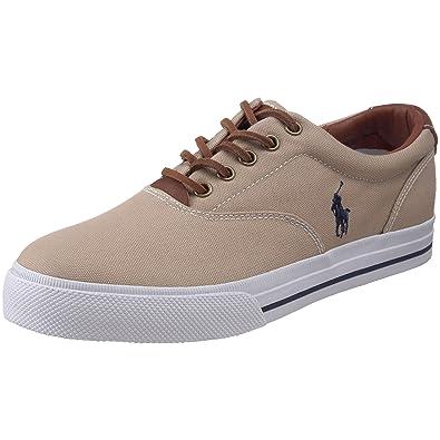 Polo Ralph Lauren Mens Vaughn Fashion Sneaker       Khaki Canvas Leather